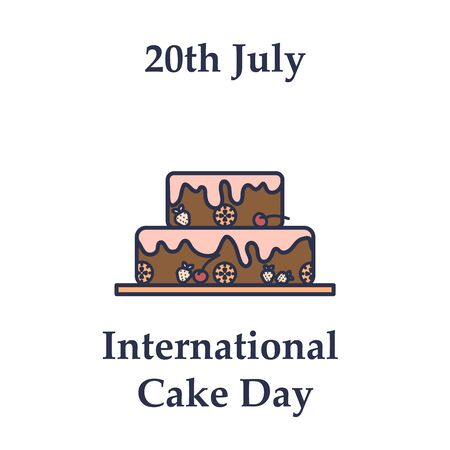 20th July International cake day icon in flat design on white background