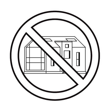 Modern house in prohibition sign on a white background drawn in line art style