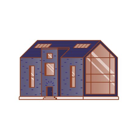 Modern house with a large panoramic window on a white background drawn in flat style