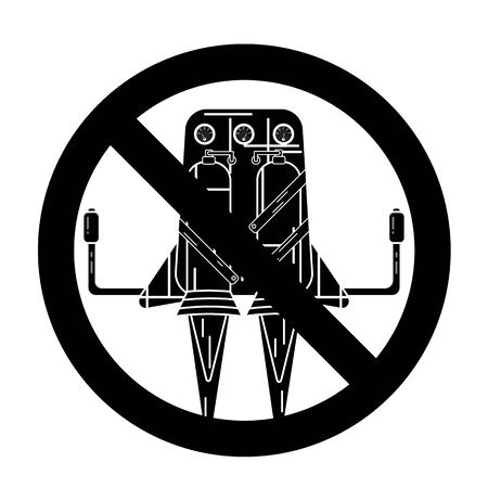 Silhouette of jetpack isolated on a white background in prohibition sign