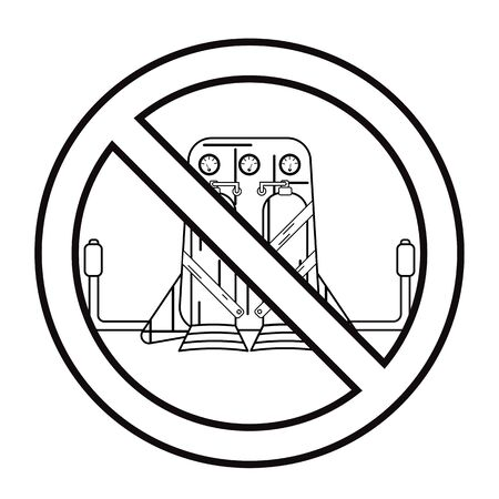 Jetpack drawn in lineart style isolated on a white background in prohibition sign