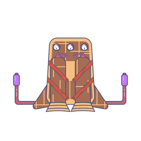 Colored jetpack drawn in flat style isolated on a white background