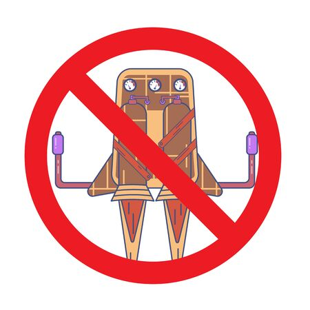 Colored jetpack drawn in flat style isolated on a white background in prohibition sign