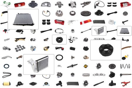 Collage of various auto parts for cars and trucks with an emphasis on three parts: radiator, cooling system, radiator, cardan shaft coupling.