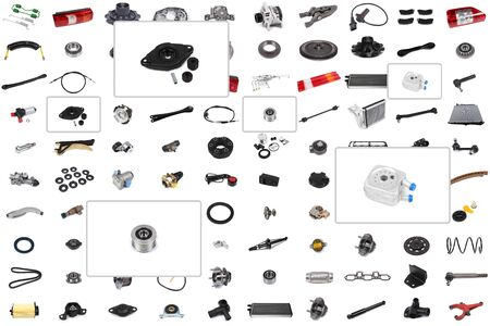 Collage of various auto parts for cars and trucks with an emphasis on three parts