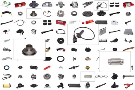 Background for a catalog or auto parts selection program with an emphasis on three parts: wheel hub, sensor, exhaust flange. Stock Photo