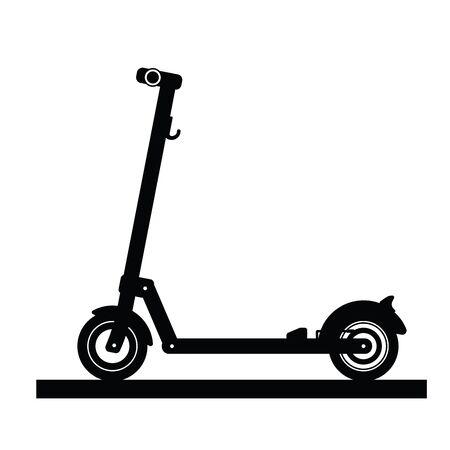 Silhouette d'un scooter électrique moderne isolé sur fond blanc