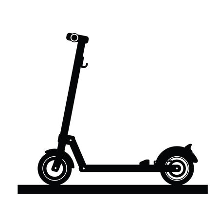 Silhouette of a modern electric scooter isolated on white background