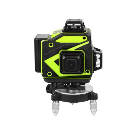 4D laser level on stand isolated on white background