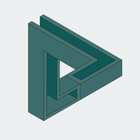 Impossible triangular figure. Optical illusion.