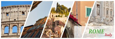 Horizontal banner with a collage of 5 images of the sights of Rome, Italy
