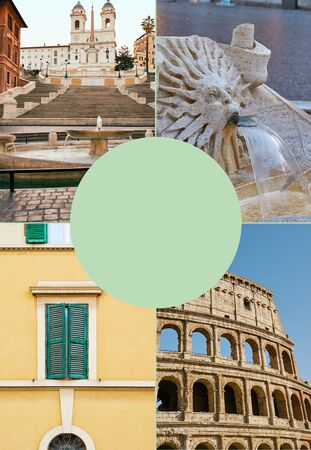 Vertical collage of photos of Rome, Italy from different places in Rome. Good for travel blogs, articles and etc.
