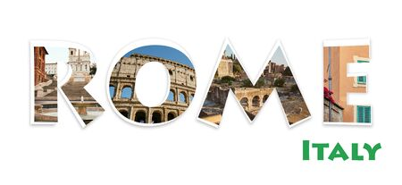 Collage with word Rome from photographs of various popular places in Rome, Italy. Good for travel blogs, articles and etc. Stock Photo