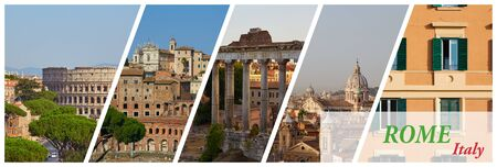 Horizontal cover for an article about traveling around a world with a collage of 5 images of the sights of Rome, Italy Stock Photo