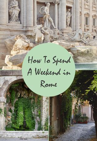 Cover for an article about traveling around a world about places in Rome, Italy. Stock Photo
