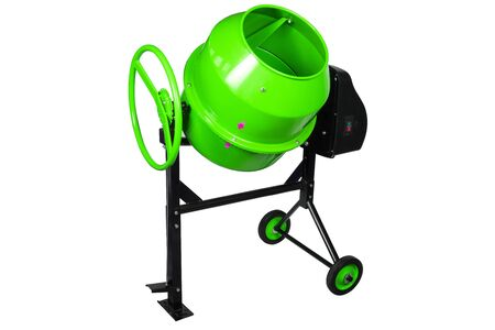 Green portable Concrete mixer isolated on white background. Construction tool cement mixer with electric motor.