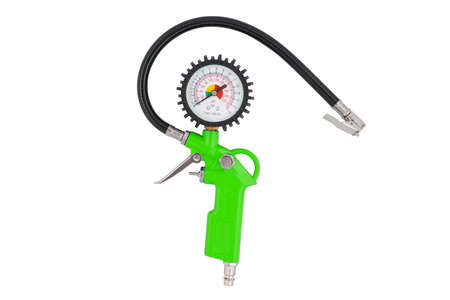 Green tire inflator with pressure gauge isolated on white background. Inflation gun with lock. Tire inflation gun with pressure gauge