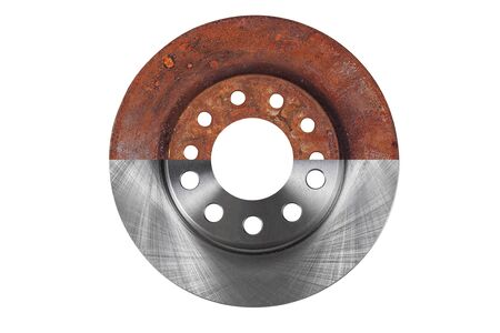 The brake disc new and old are combined in one photograph and isolated on a white background Foto de archivo - 150126888