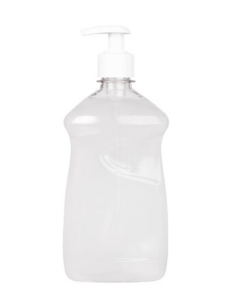 Antiseptic in a transparent plastic simple blank bottle without a label isolated on a white background Stock Photo
