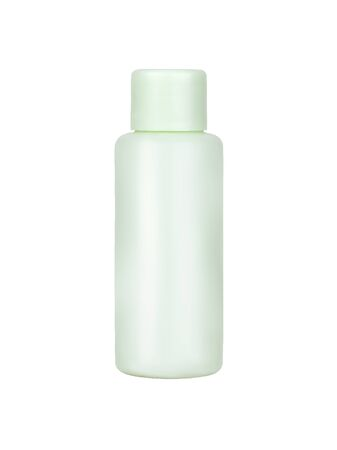 Simple blank а plastic bottle for a light green cosmetic, isolated on a white background.