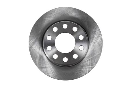New brake disc top view isolated on a white background Stock Photo