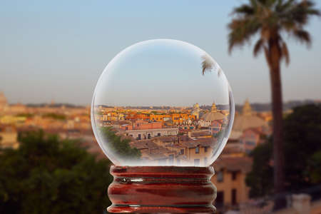 Justice in Rome, Italy through a glass transparent ball