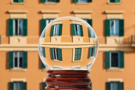 Italy through a glass transparent ball