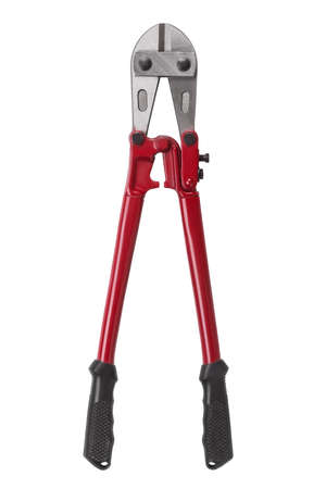 Bolt cutter with red hands isolated on white background. Hand tool for cutting chains, bolts, padlocks, rebar and etc. Stock Photo