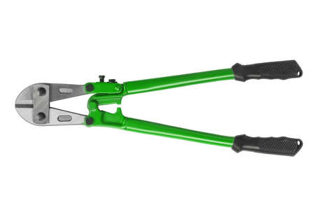 Bolt cutter with green hands isolated on white background. Hand tool for cutting chains, bolts, padlocks, rebar and etc.