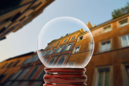 Unusual view on the street of Rome in the Trastevere district in the early morning in a glass transparent bowl Stock Photo