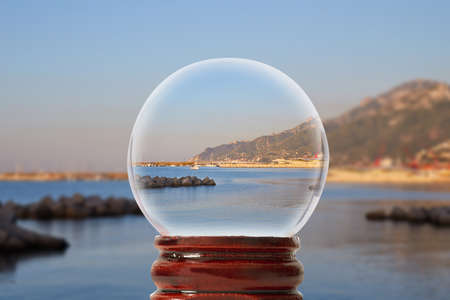 View of the Amalfi Coast in Salerno city in the early morning in a glass transparent bowl Italy Stock Photo