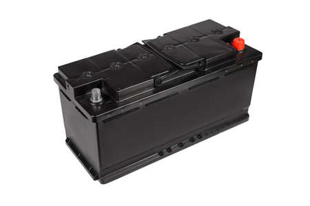 Car battery black color isolated on white background. Side view.