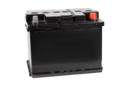 Car battery isolated on white background. Front view.