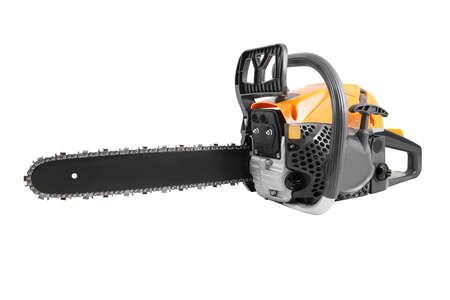 Gasoline chainsaw isolated on white background. Garden power tool - chain saw.