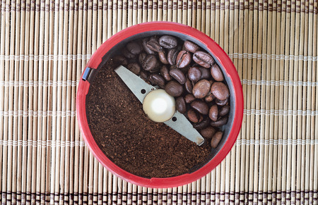 grinder: grinder with coffee beans Stock Photo