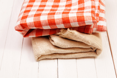gunny: Burlap and cloth in the box on a white table