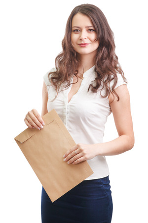 Young attractive business woman with documents, isolated on white background photo