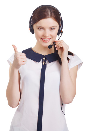 hands free phones: Portrait of happy smiling cheerful young support phone operator