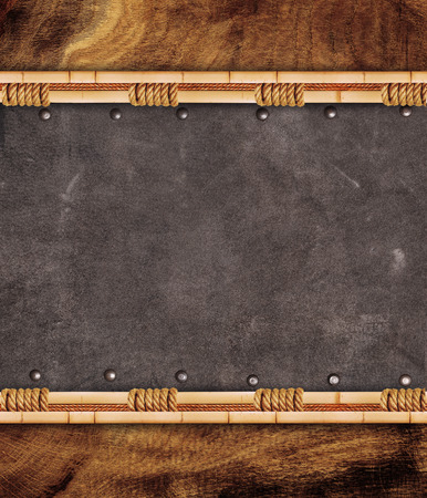 inserts: Leather inserts in bamboo frame Stock Photo