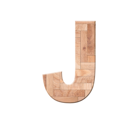 Wooden parquet alphabet letter symbol - J. Isolated on white background