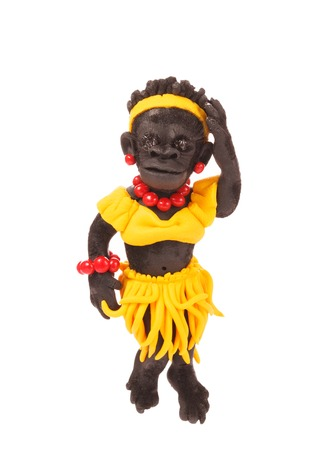 leis: Figurine monkey in hawaiian leis