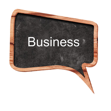 partnership security: Business word concept on speech bubbles from wood on white background