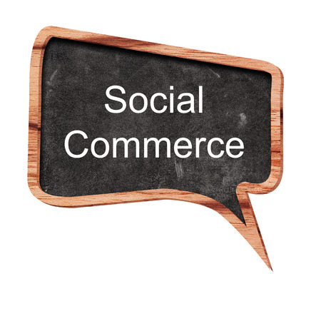 social commerce: Social commerce word concept on speech bubbles from wood on white background