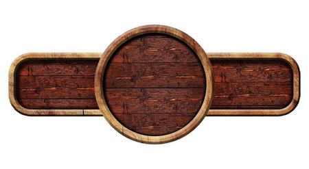 wooden circle: Circle wooden sign, illustration.