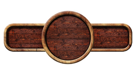 Circle wooden sign, illustration.