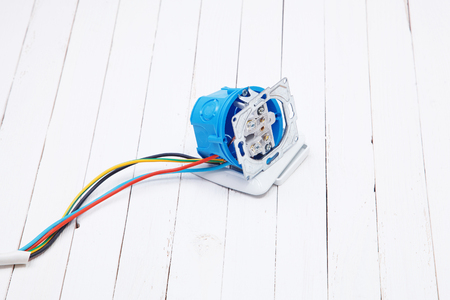 cable cutter: Set of electronic tools and components on white background