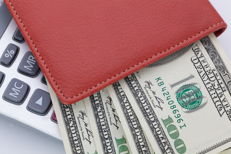 empty wallet: Money and calculator. Payments and costs.