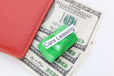 car leasing: Car money With sign - Car Leasing. Payments and costs. Stock Photo
