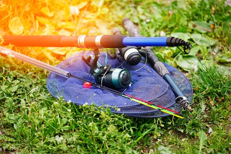Fishing rods and tackle for fishing Imagens