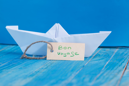 bon: Label with the Words Bon Voyage which means go to trip